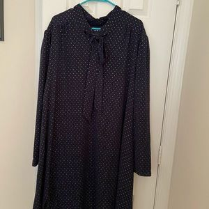 Fashion Union tie neck navy dress with gold dots!!